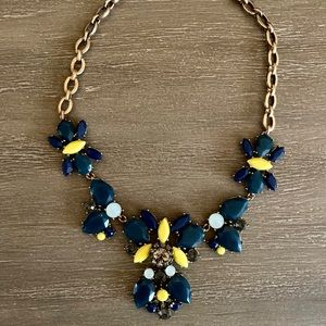 J.crew statement necklace. Blue and yellow.